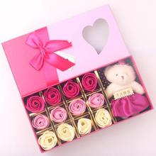 Bathing Soap Artificial Rose Soap Flower Petal With bear doll Gift Box For Valentine's Day Mother's Day Wedding lover Giftbox 30