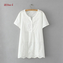 Plus Size XL-3XL Women Fashion Women t shirt Elegant Ladies short Sleeve Lace Embroidered Flounce Shift Shirt