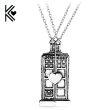 United Kingdom Television Popular Doctor Who Double Heart Lovers Pendant Necklace Vintage Antique Silver Statement Necklace Gift