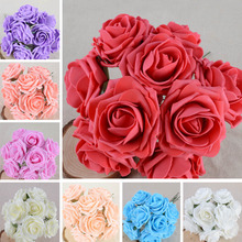 2016 50 pcs/pack Colourfast Foam Roses Artificial Flower Wedding Bride Bouquet Party Decor DIY Flower Y1S1
