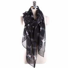 2017 Hot Sale Women Ladies Musical Note Cat Print Pattern Long Scarf Warm Wrap Scarves Women Wrap Lady Shawl  Soft Thin Chiffon