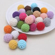 10pcs/bag 16mm/20mm Round Wooden Crocheted Beads Colorful Woolen Teether Bead Toy For DIY Necklace