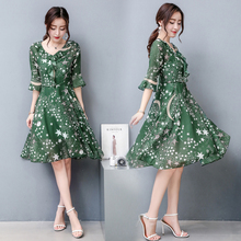 Summer Korean Slim Women Chiffon Dress Printed Galaxy A-Line Knee Length Green Dresses Japanese Ruffle Vintage Big Size Vestidos