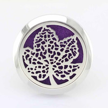 Mix Designs Silver Leaf Essential Oil Car Diffuser Locket 30mm 316 Stainless Steel Car Perfume Lockets For Women Men