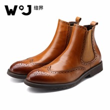 W.J 100% Genuine Leather Mens boots New Fashion Men Wedding Dress Shoes Fashion Italian designer formal mens boots free shipping