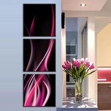 2016 Home Decoration 3 Pcs/set Abstract Rose Red lines Canvas Wall Paintings Abstract Pink Flame In Black Paintings Wall Art