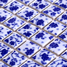 ceramic blue and white porcelain mosaic HMCM1037 for mesh backing bathroom wall floor kitchen backsplash(China)
