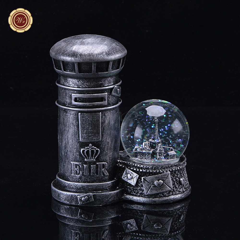 Fashion Mailbox Desk Decoration Metal Crafts Unique Eiffel Tower Inside Crystal Ball Hot Sale Figurines & Miniatures for Gifts(China (Mainland))