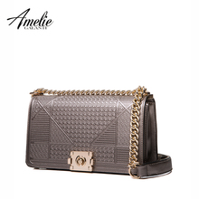AMELIE GALANTI new fashion women shoulder bag lady bag criss-cross flap pu original design chains cover hard versatile bronze