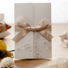 2017 new design white lace design bow elegant wedding invitations card with ribbon 10pcs/lot