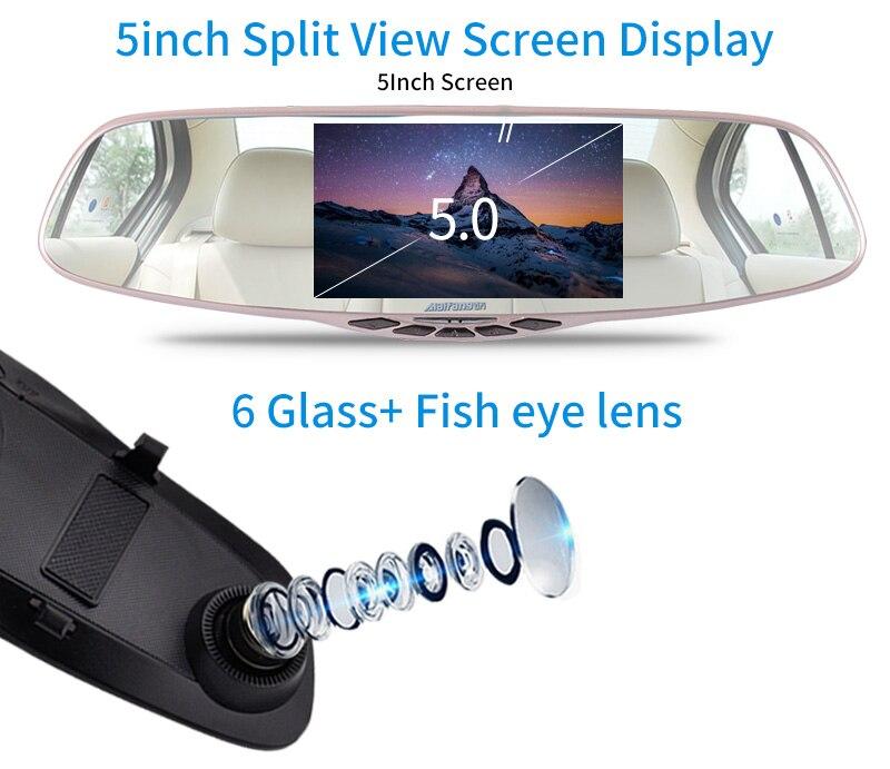Denicer 5 Dual Camera Rearview Mirror FHD 1080P 30Fps Rear View Camera 170 Degree Dash Camera Car Camcorder Dvr Mirror