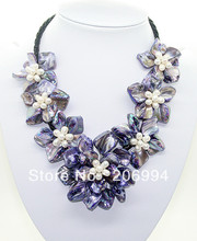 "handmade natural white pearl lavender shell mother simulated pearl 7 flower pendant necklace 18"" A11 fashion jewellery"