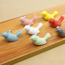 Fashion Creative Bird Ceramic Door Knob Children Room Cupboard Cabinet Drawer Suitable Kitchen Furniture Home Pull Handle