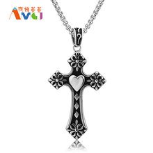 "AMGJ Gothic Heart Cross Pendant Necklace Titanium Steel Unisex Jewelry Men Necklace Boyfriend Gift Box Chain 23.6""(China)"