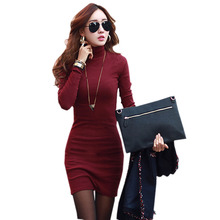 Buy Women Mini Sexy Dress Turtleneck Red Black Cotton Knitted Winter Dress Plus Size XXL Slim Dresses Bodycon Casual Korean Clothes for $9.68 in AliExpress store