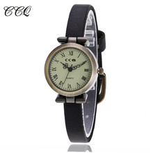 CCQ Luxury Brand Roma Retro Vintage Cow Leather Bracelet Watch Women Slim WristWatch Casual Quartz Watch Relogio Feminino 1909(China)