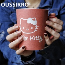 OUSSIRRO Hello Kitty Theme Milk / Coffee Mugs With Cover and Spoon Pure Color Mugs Cup Kitchen Tool Gift