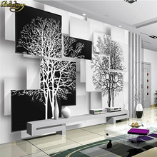beibehang papel de parede 3d Custom Photo Wallpaper Mural Simple Black and White Big Tree 3D TV Wall wall papers home decor(China)