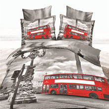 "3D Bedclothes ""Bus"" 4pcs Bedding Sets  King Or Queen Reactive Print"