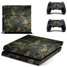 Classic PS4 Sticker Green Camouflage Vinyl Cover Decal PS4 Skin Sticker for Sony Play Station 4 Console and 2 Controller Skin(China)