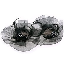 2017 NEW Black Flower Feather Organza Mesh Hair Clip Fascinator Wedding(China)