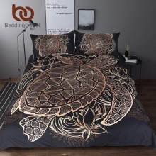 BeddingOutlet Turtles Bedding Set Duvet Animal Golden Tortoise Bed Cover Set King Sizes Flowers Lotus Home Textiles 3pcs Luxury(China)