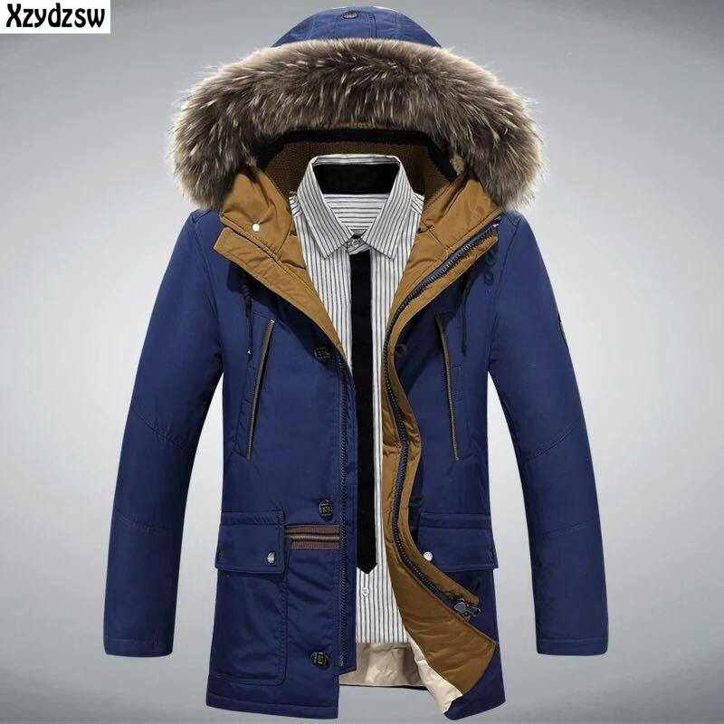 2016 Men Duck Down Coat Brand Clothing Fang Cold Warm Casual Wear Cold Winter Jackets Mens Natural Fur Collar Down Jacket XXXL