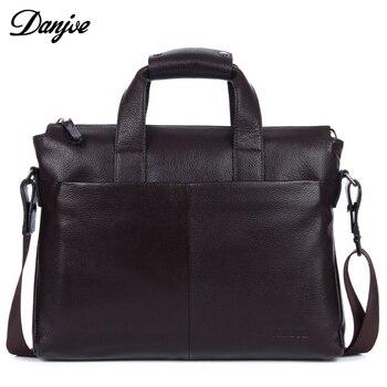 DANJUE Véritable en cuir hommes briefcare marque de haute qualité hommes d'affaires sacs à main deux couleur réel en cuir souple hommes ordinateur portable sac