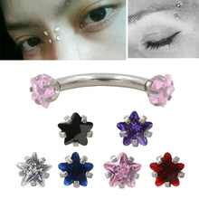 2Pcs High Quality & Cheap 16L Stainless Steel 16g Zircon CZ Gem Curved Eyebrow Ear Cartilage Helix Piercing Ring Body Jewelry(China)