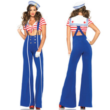 Europe and The United States Harness Dress Navy Suits Elegant Bell - Bottoms Women Sailor Clothes Halloween Cosplay Costume(China)