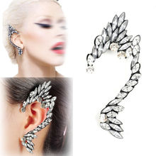 Wholesale 10PCS Fashion Gothic Punk Elf Full Diamante Rhinestone Ear Wrap Cuff Earrings Unisex Jewelry Free Ship