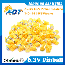 100pcs Anti Ghosting 555 W5W Pinball led 6.3V AC/DC 5050SMD Amber Color For Bally Pinball Game Machine