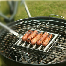 NEWEST HOT 6 Sticks Food Grade Stainless Steel Hot Dog Roller BBQ Rolling Meat Hot Dog Griller Maker Outdoor Barbecue Tools