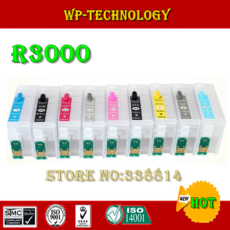 Suit for Epson R3000 , 9 colors Refillable cartridges suit for T1571 - T1579 series. With ARC chips , Empty<br>