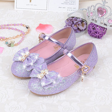 Girls Sequines Flats Size 24-35 Purple Pink Color Little Girls Dress Shoes Fashion Casual Shoes All Match Comfortable Mocassins(China)