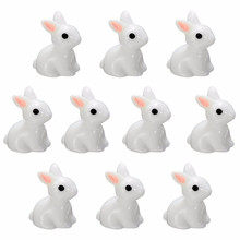Fashion 10PCS Miniature Rabbits Fairy Garden Terrarium Figurine Decor DIY Bonsai Resin Craft Room Home Garden Ornament Decor(China)