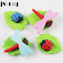 1 pcs JWHCJ Cute cartoon Dragonfly ladybug eraser Kawaii stationery school office supplies correction supplies child's toy gifts(China)