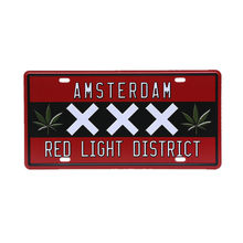 Netherlands Amsterdam Red Line District Car License Metal Plate Vintage Plaque Wall Art Sticker Pub Cafe Home Decor 30x15cm A971(China)