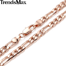 Trendsmax 6mm Womens Mens Rose Gold Color Necklace Figaro Chain Fashion Jewelry GN351(Hong Kong)