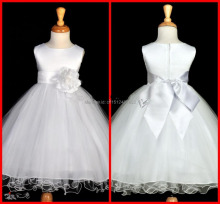 Beautiful Spaghetti A Line Jewel girls pageant dresses Knee length Hand Made Flower Bow Net Flower Girl Dresses