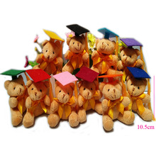 30pcs/Lot 10.5cm Graduation Teddy Bear Tactic Bear Doll, Cartoon Plush Stuffed Toy Doctor/Students Gifts,10 colors cap to choose