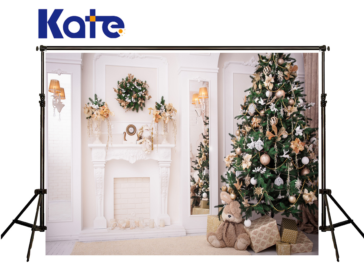 Kate Christmas Background Photo White Brick Stove Fundo Fotografico Madeira Bear Bell Ball Backgrounds For Photo Shoot<br>
