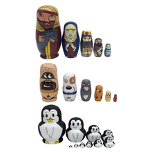 Multicolors 5PCS Cute Hand Painted Wooden Russian Nesting Dolls Babushka Matryoshka Toy Painted Toys Kids Home Decoration Gifts