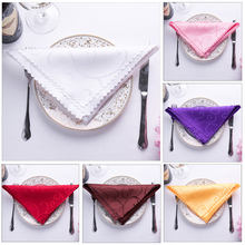 6pc 46x46cm Wedding Table Napkins Cloth Polyster Wedding Table Decoration Pink White Purple Orange With Embroidered Flower