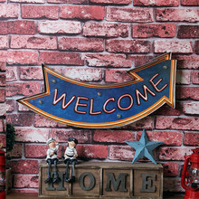 """WELCOME"" Vintage Decoration Metal Painting Neon LED Home Decor Bar Restaurant Wall Decorative Ornaments Painted AD Sign"
