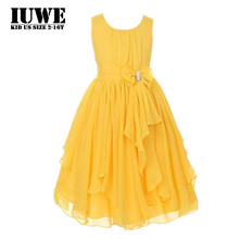 Summer Dress 2017 Holiday Dresses for Baby Girls Draped Yellow Children Party Clothing for Girls 12 Years7 8Infant Wedding Dress