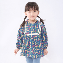 Waterproof Long Sleeve Coverall Baby Bibs Dot Print Toddler Feeding Smock For Children Baby Girl Burp Cloths Size 90-130cm