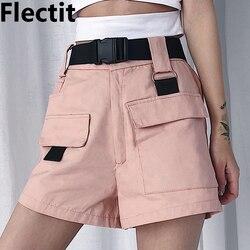 Flectit летние женские шорты Карго корейская мода Высокая талия мини шорты с карманом Пряжка ремень повседневные женские шорты *