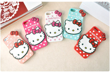 100 pcs Wholesale Points Hello Kitty cover Case For Coque iPhone 4 4s 5 5s se 6 6s 6plus Cases Silicone Capinha Funda hoesjes(China)