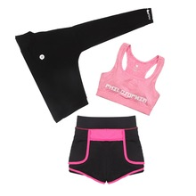 Women Gym Running Sport 3pcs Suit Elasticity Fitness Clothing Workout Sport Wear Clothing(China)